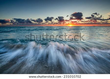 Early morning at the beach near Miami. - stock photo