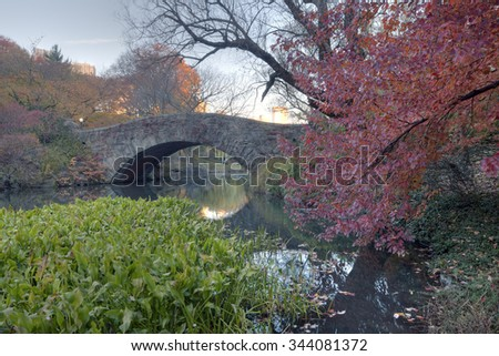 Early morning at the pond with a view of the Gapstow bridge - stock photo