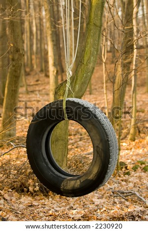 Early morning golden light strikes a tire swing near a rural country home.  Frost from a cold night before still lies on the treads. - stock photo