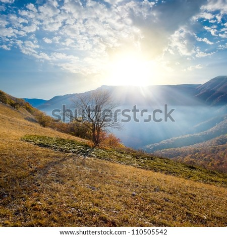 early morning in a autumn mountains - stock photo