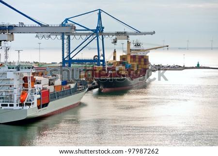 early morning in Copenhagen cargo seaport - stock photo
