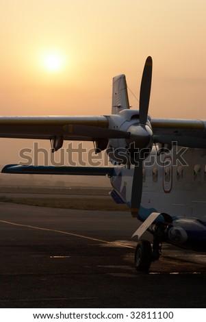 Early morning in Kathmandu airport, Nepal - stock photo