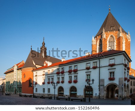 Early morning in old Krakow. Poland, Europe - stock photo