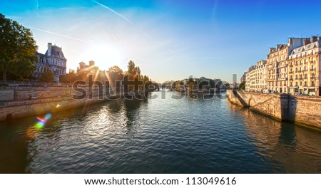 early morning in Paris - stock photo