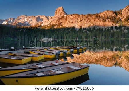 Early morning light on Lake Mary at Mammoth Mountains in California - stock photo