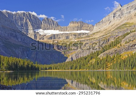 Early Morning Light on the Glacial Carved Mountains of the Grinnel Glacier in Glacier National Park in Montana - stock photo