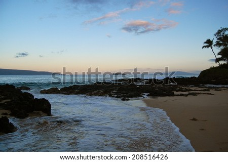 Early Morning Maui From Secret Beach - stock photo