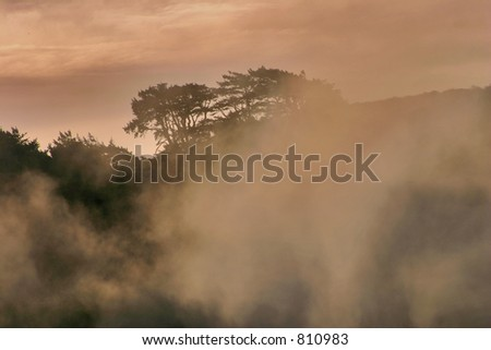 Early Morning Mist on California Coast - stock photo