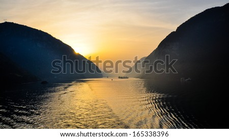 Early Morning Scene on the Yangtze River - Xiling Gorge, Yichang, China - stock photo