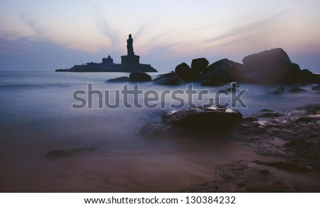 Early morning silhouette scene of Kanyakumari, the southernmost point of India - stock photo