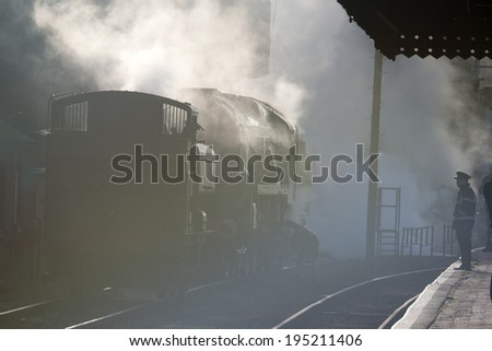 Early morning steaming, restored steam engines at the Severn Valley Railway, Bewdley, Worcestershire, UK. - stock photo