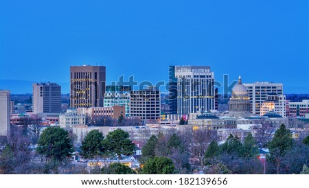 Early morning view of Boise Idaho with city light - stock photo
