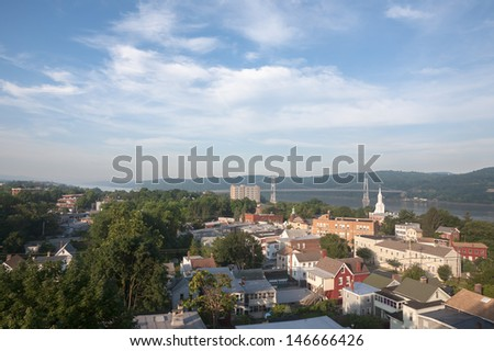 Early morning view of the Mid Hudson Bridge in Poughkeepsie, NY - stock photo