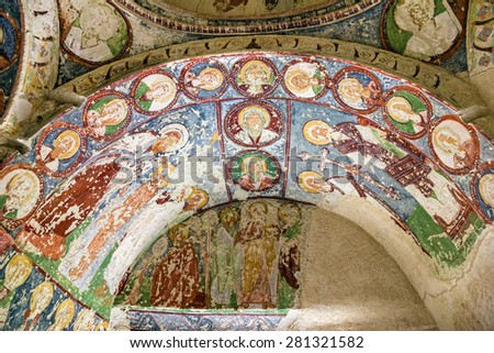 Early Orthodox fresco in cave orthodox church El Nazar, Cappadocia, Turkey - stock photo