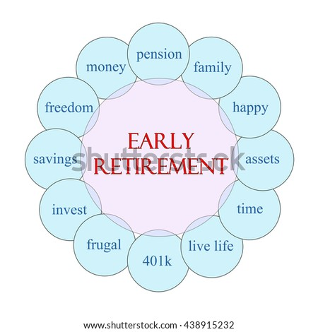 Early Retirement concept circular diagram in pink and blue with great terms such as pension, savings, freedom and more. - stock photo