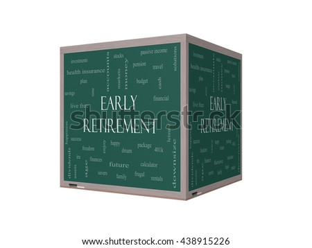 Early Retirement Word Cloud Concept on a 3D Blackboard with great terms such as investments, budget, downsize and more. - stock photo