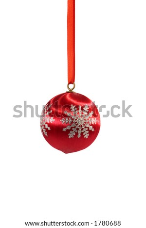 Early 1960s red, spun glass Christmas tree ornament - stock photo