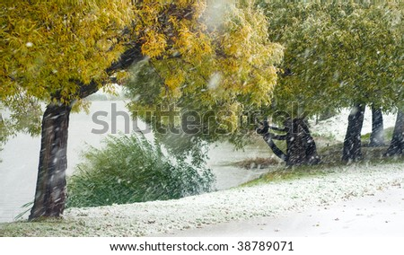 Early snowstorm in the autumn park - stock photo