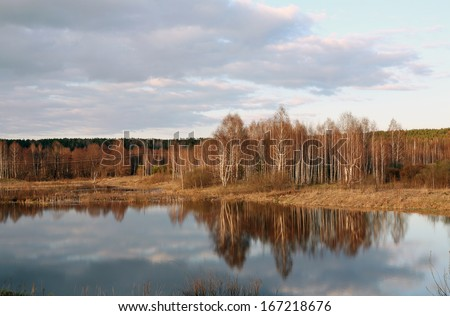 Early spring landscape at the lake with a mirror surface near the forest with no leaves