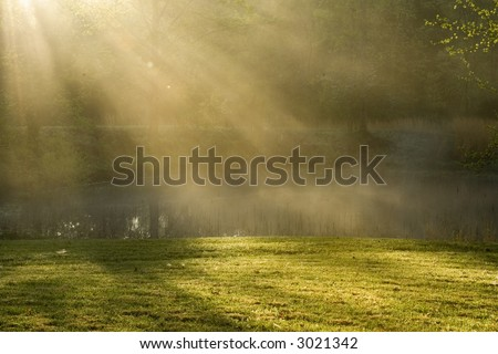 Early spring morning with a light fog creating sun rays over the pond