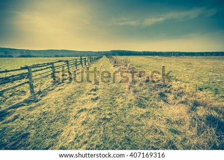 Early spring rural landscape, pasture with dry grass, vintage photo - stock photo