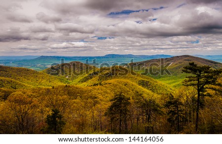 Early spring view of the Blue Ridge Mountains and Shenandoah Valley from Skyline Drive in Shenandoah National Park, Virginia. - stock photo