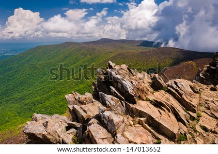 Early spring view of the Blue Ridge Mountains from Hawksbill Summit, Shenandoah National Park, Virginia - stock photo