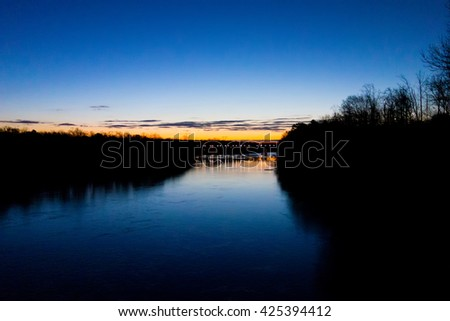 early sunrise over river - stock photo