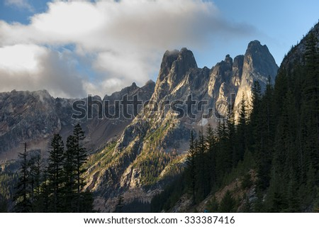 Early Winters Spires. Liberty Bell Mountain is located in the North Cascades, approximately one mile south of Washington Pass on the North Cascades Highway and is popular among rock climbers.