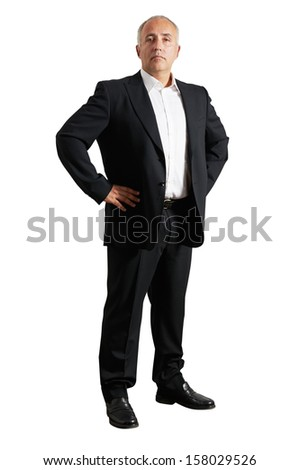 earnest business man over white background - stock photo