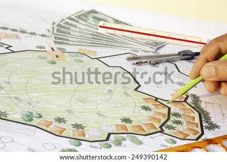 Earning for design landscape plan, or any other project. - stock photo