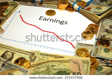 earnings chart graph going down falling with money gold - stock photo