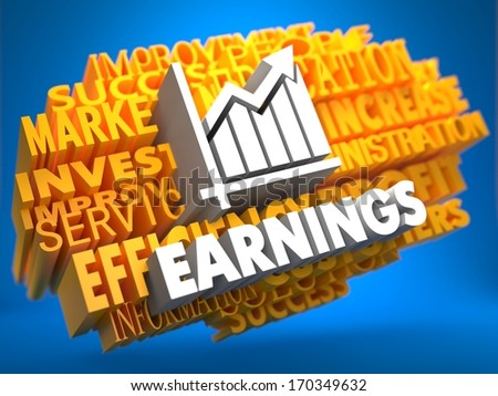 Earnings with Growth Chart Icon on Yellow WordCloud on Blue Background. - stock photo