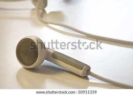 earphone isolated on white table - stock photo
