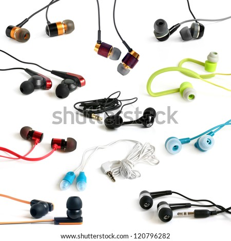 Earphones collection on the white background - stock photo