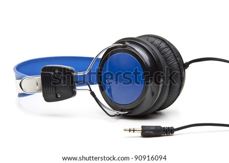 Earphones on the white background - stock photo