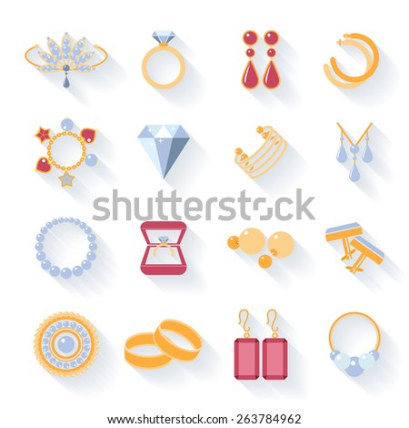 Earrings and rings, cufflinks and necklaces, pendants and flat icons - stock photo
