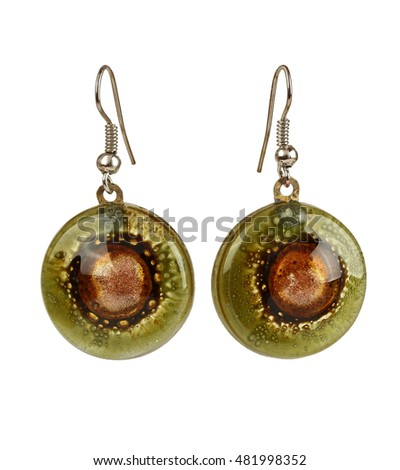 Earrings made of colored art glass, isolated on white