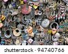 earrings on a market stall - stock photo