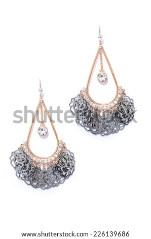 earrings on a white background - stock photo