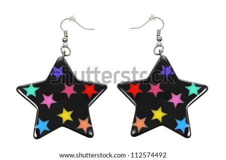 Earrings on White Background - stock photo