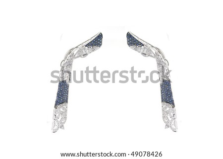 Earrings with diamonds and sapphires isolated on white background - stock photo