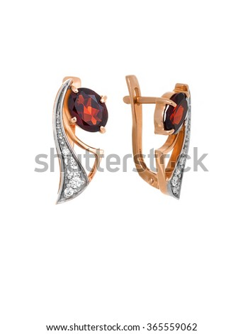 earrings with garnet and diamonds isolated on white - stock photo