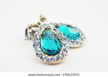 earrings with jewels - stock photo