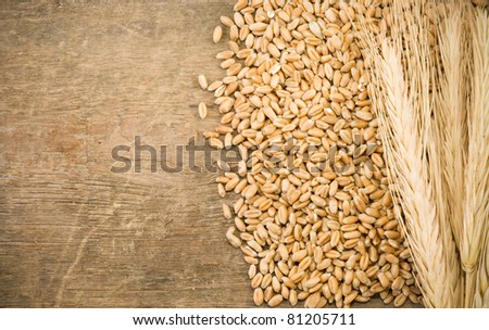 ears spike and wheat on wood texture background - stock photo
