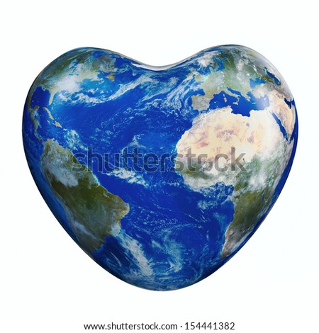Earth America and Europe Africa part green planet in heart  form on a white background.Elements of this image furnished by NASA