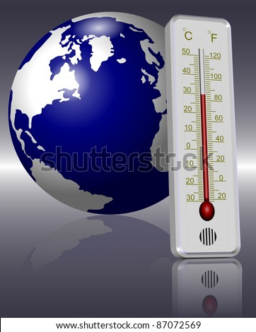 Earth and a thermometer in front of it indicating global warming / Thermometer and Earth - stock photo