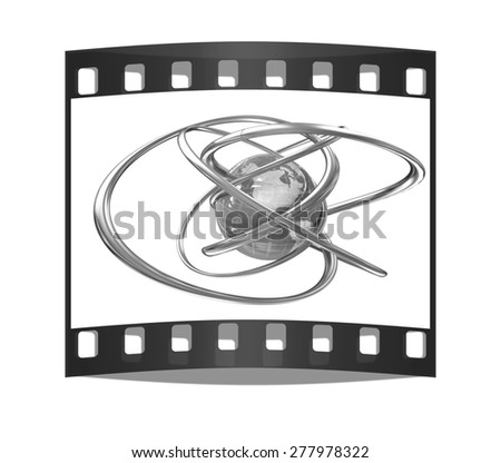 Earth and abstract shapes on a white background. The film strip
