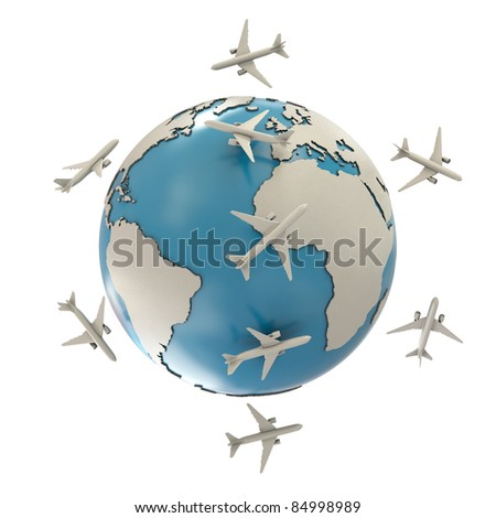 Earth and airplanes isolated on white background