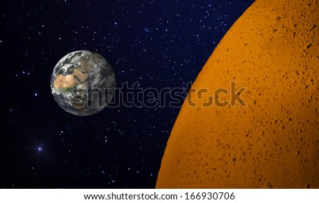 Earth and alien planet. Image including elements furnished by NASA. - stock photo